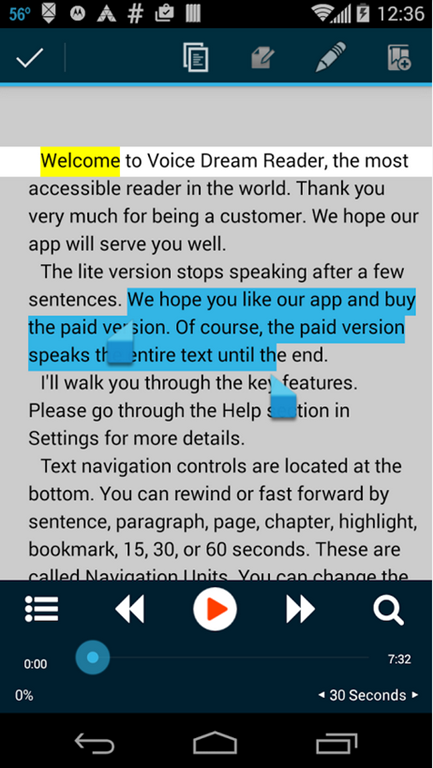 "Voice Dream Reader for Android: ""Must buy"" if you want first-class"